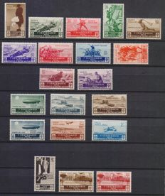 Kingdom of Italy, Centenary of the introduction of the medals of military bravery, 1934, with airmail and express airmail.