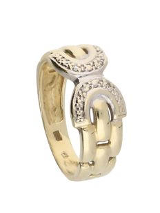 Yellow gold 14 kt ring set with 4 diamonds of approx. 0.2 ct in total, set in two white gold settings – 2.8 g – Ring size 15.75 mm
