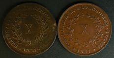 "Portugal – 2 coins of X Reis face value from the reign of D. Maria II – 1838 (""straight stem on the 3"") and 1851 – no reserve price – Lisbon – RARE GRADE"