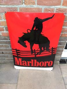 Enamel advertising sign for Marlboro, curved