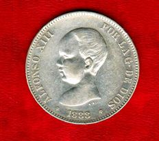 Spain - Alfonso XIII - 5 silver pesetas - 1888.  MP.