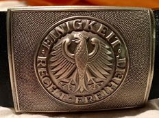 "German Army Leather Belt & Buckle Bundeswehr Eagle ""Einigkeit Recht Freiheit"""