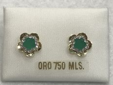 Earrings with Emerald in 18 kt Gold