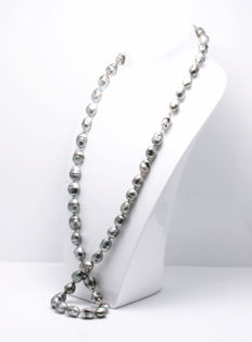 Long Baroque Tahitian Pearl Necklace featuring a Silver Baroque shaped Clasp