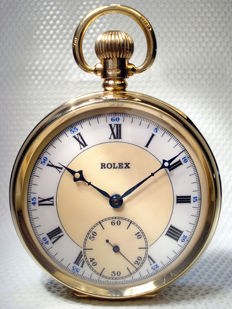 Rolex Antique Swiss Solid gold 9ct Pocket watch with chain - Art Jewellery  1929 UK