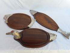 Three beautiful serving or presentation boards for (sandwich) filling, delicatessen or fish , ... in the shape of a Duck, a Fish and a Pig