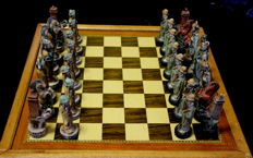 Chinese chess of polychromatic resin and wooden board