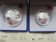 France- Coins from Paris- 5 f, 2001 'Semeuse' and 10 f, 2000 'Marianne' (lot of two coins)- silver