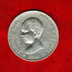 Spain- Alfonso XIII – 5 pesetas silver coin – 1890 – Madrid. MP.