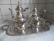 Silver-plated coffee and tea set on serving tray, oneida, United States
