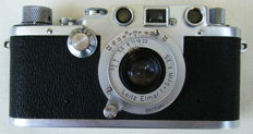 Leica IIIc (1948/49) with Elmar 50mm f/3.5 lens (1951) in ever0ready bag