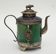 Teapot with green stone and frames, China, late twentieth century
