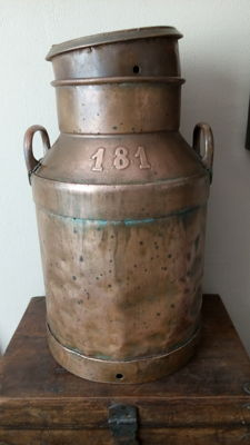 Coppered milk churn, no. 181, Belgium, mid 20th century