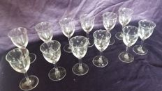 12 Cut glasses about 1930-40