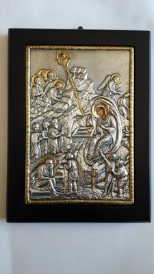 950 Silver icon reproduction of ancient byzanthine icon,Nativity ,Second half of 20th century