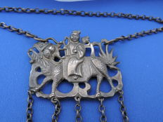 Authentic late Qing Dynasty, Chinese silver necklace amulet pendant, Kylin rider.