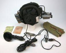 Infra-red night vision goggles with tank helmet and infra-red portable spotlight