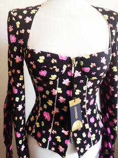 Versace - Wonderful sartorial bustier jacket - Silk mix - Floral and polka dot pattern, with inserted foulard.