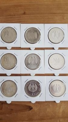Germany 10 euros 2002 - 2010 silver (9 different ones)