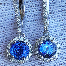 2.33ct Ceylon Sapphire and Diamond Earrings made of 18 kt white gold - NO RESERVE -