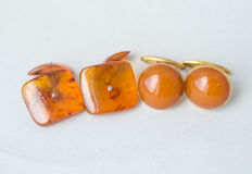 Set of natural Baltic Amber cuff links with natural butterscotch, egg yolk amber