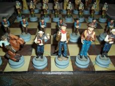 Chess set: Cowboys versus Indians with board - 2nd half 20th century.