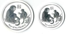 World Australia - Lunar II Monkey 2016 - 2 coins, 1 x 1 oz and 1 x 2 oz - 93.3 grams of 999/1000 fine silver - KMS Koblenz