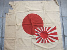 Commemorative rising sun flag of Mount Fuji climb and a regular flag - WW2 period
