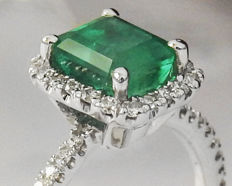 Golden Emerald with Diamonds Engagement Ring - Ring size: 5.5 US size - 51 3/4 French size