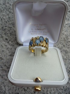 Women's ring in 750/1000 gold and blue natural sapphires