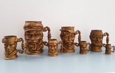 7 x beer mug / cup with face, very heavy
