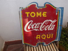 Original Cuban Coca cola Sign 1940.Double face.