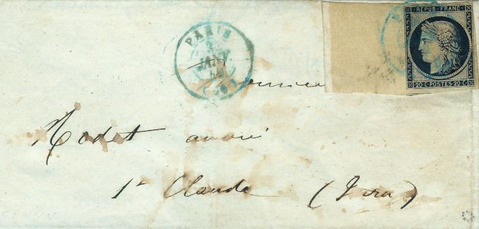 France 1849 - Rare black 20 cents, large cancelled edge of sheet, i.e. blue from 3 of January 1849 on letter, signed by Roumet with certificate – Yvert no.3