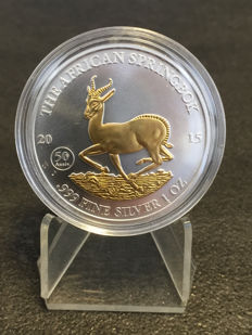 Malawi - 1000 francs - Gabon springbok 2015 999 silver coin gilded version - finished with 999 gold - 50 th. Anniversity