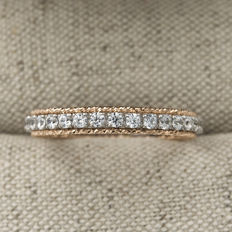 White and rose gold of 750/1,000 (18 kt) – Zirconias – Ring size: 22 (Spain)