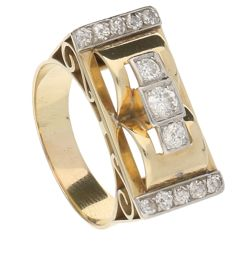 Yellow gold Art Deco tank ring with diamond -  approx. 0.59 ct in total