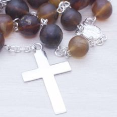 925/1000 Sterling Silver & Amber Rosary - Length: 65 cm - NO RESERVE PRICE