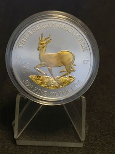 Malawi - 1000 francs - Gabon springbok 2017 999 silver coin gilded version - finished with 999 gold - 50 th. Anniversity