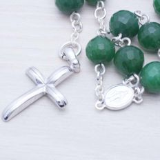 925/1000 Sterling Silver & Faceted Emerald Rosary - Length: 65 cm