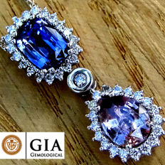 Unheated 4.60 ct Blue Color Change Sapphire And Pink Sapphire Diamond Pendant With Necklace in 18 kt Gold – GIA Certified - No Reserve
