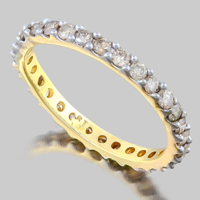 14 kt Yellow gold wedding band with diamonds 1,03ct - size 54 ***No reserve price***