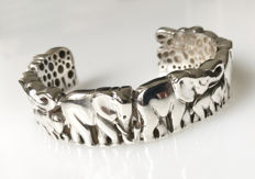 925 silver - large silver bangle with elephant pattern