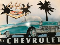 Prachtig Emaille bord van Chevrolet Bel Air - Dan Hitchings, 1991