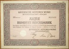 Germany - Bayerische Motoren Werke AG - Aktie Share 100 Reichsmark Munich 1942 - stock certificate of famous BMW car manufacturer