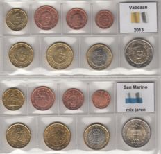 Vatican and San Marino - year packs Euro coins 2013 and mixed years