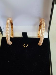 Yellow diamond gold earrings loop 7.99 ct