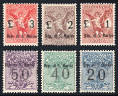 San Marino, 1924 – Postage due for money order – Complete series of 6 values.