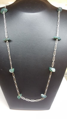 925 silver, handmade necklace, set with moss agate. No reserve!