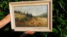 Antique German painting on canvas in frame with 2 deer (Capreolus) - Klinkhamer collection 1850-1890