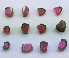 Polished Watermelon Tourmaline Slices Lot- 5 to 10 mm - 56 cts (12)